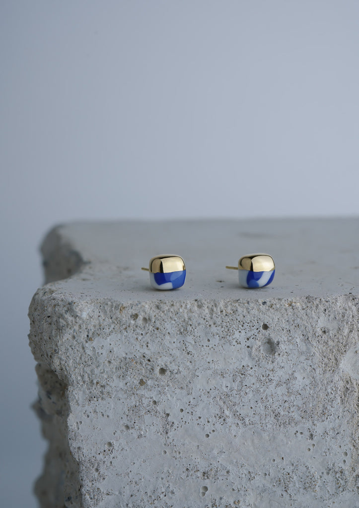 Handmade Earring Ceramic Jewelry Cecolors Square Ultramarine Blue