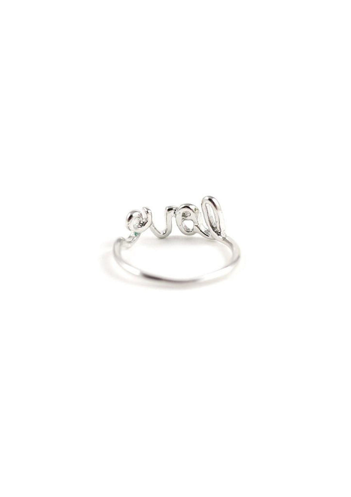 Cursive Long Ring Silver Online Accessories Kollidea 2