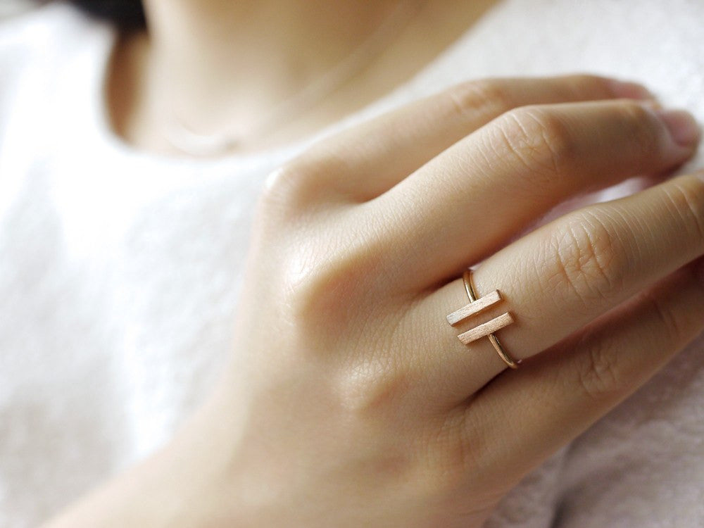 Double Rectangle Ring - Rose Gold