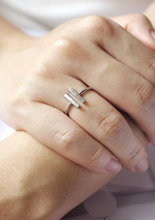 Double Rectangle Silver Ring Online Accessories Kollidea 2