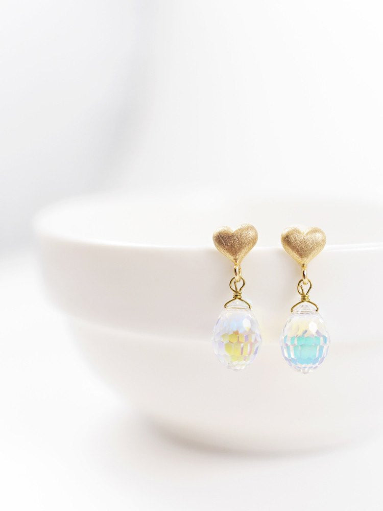 Heart Swarovski Drop Earring - Short Gold