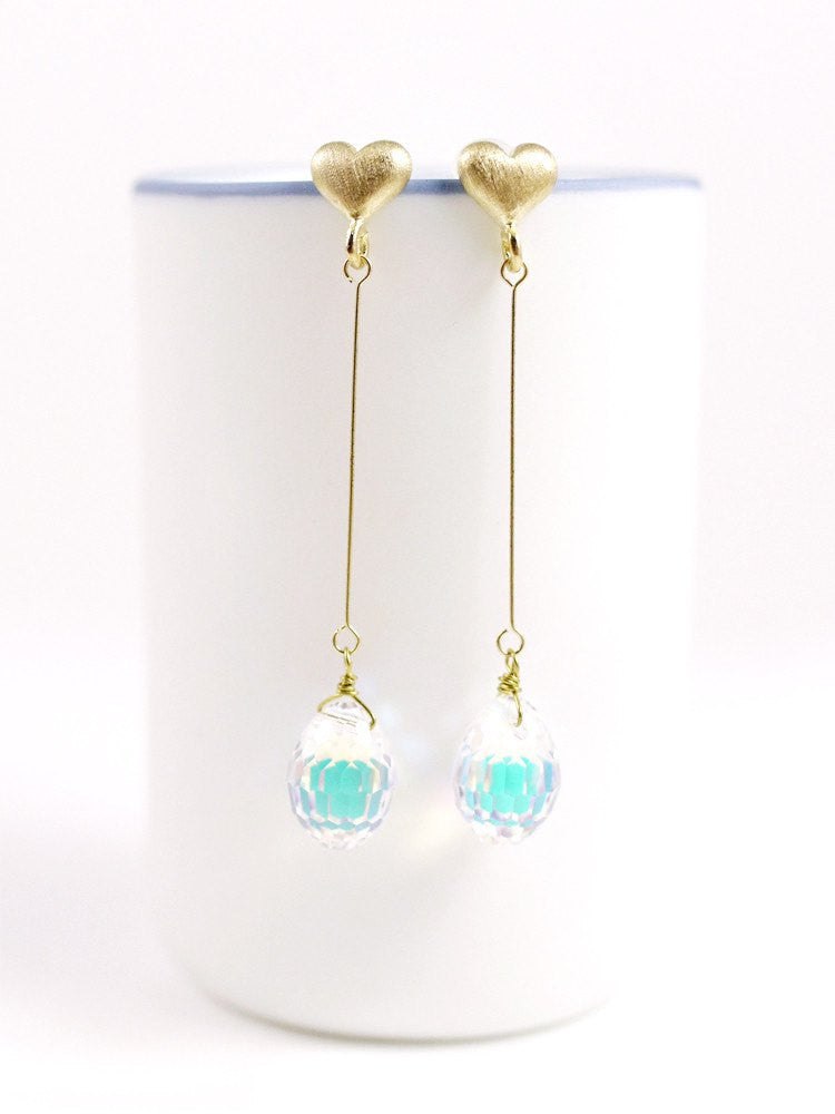 Heart Swarovski Drop Earring - Long Gold