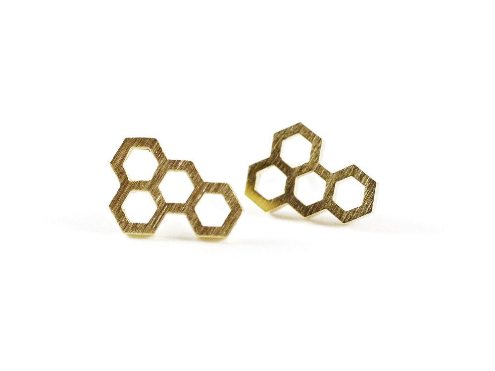 Honeycomb Earring - Gold
