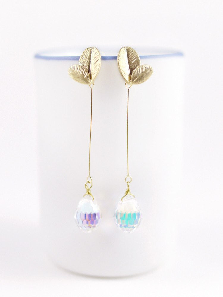 Petals Swarovski Drop Earring - Long Gold