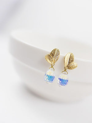 Petals Swarovski Drop Earring - Short Gold