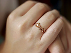 Cursive Love Ring - Rose Gold