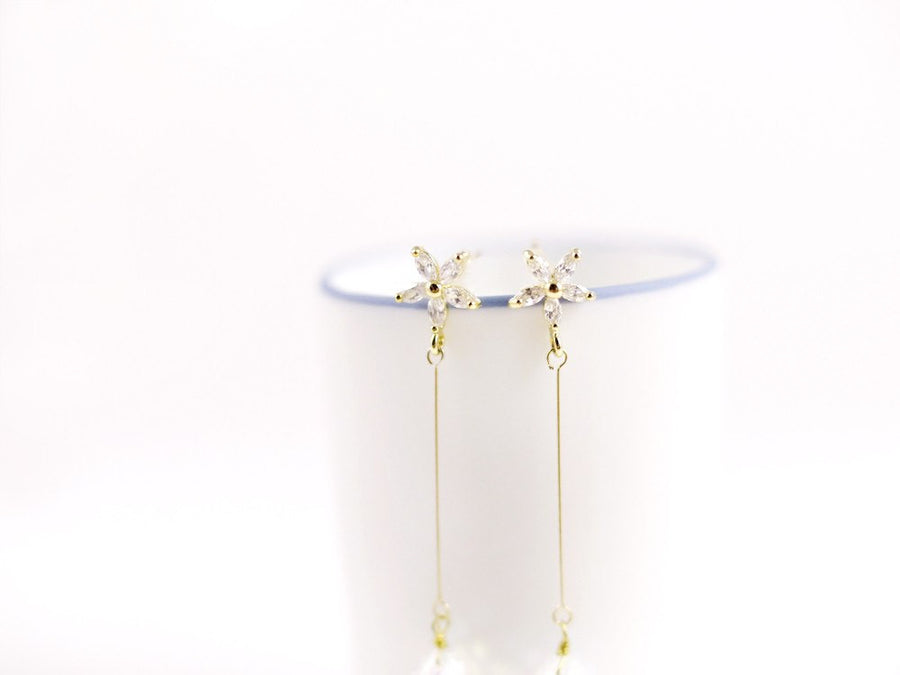 Mini Flower Swarovski Drop Earring - Long Gold