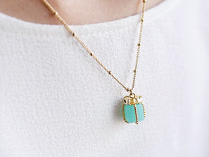 Gift Box Pendant in Turquoise Necklace - Gold