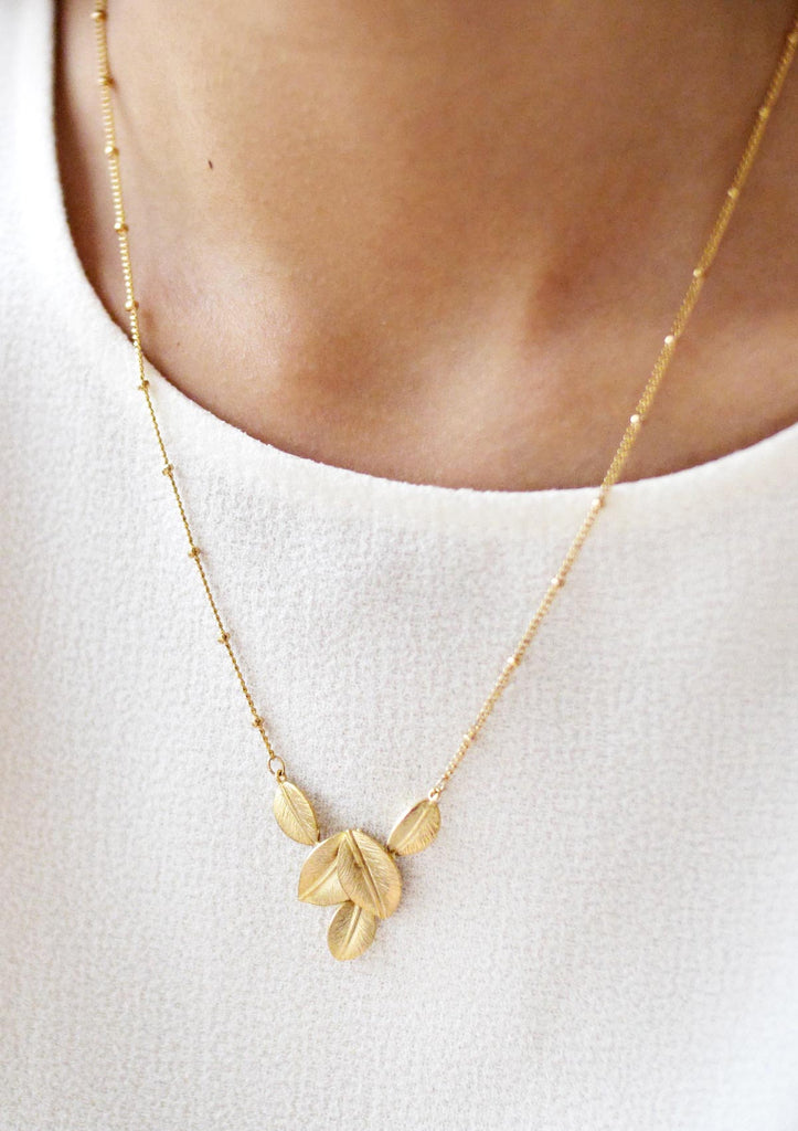 Gold Leaves Necklace Accessories Kollidea