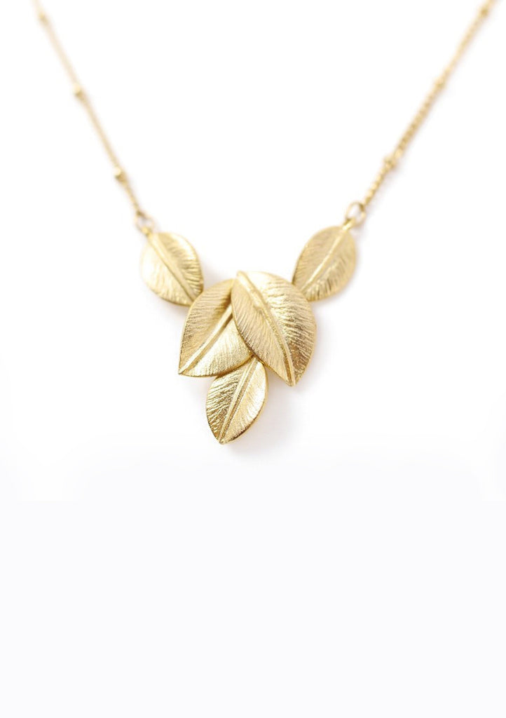 Gold Leaves Necklace Accessories Kollidea 4
