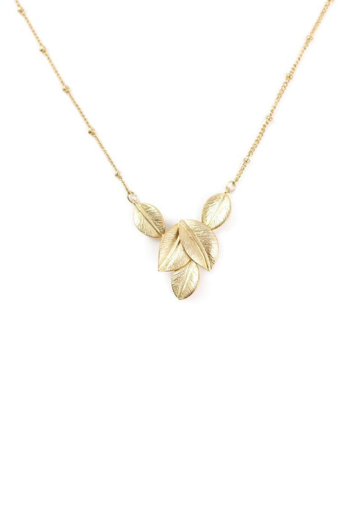 Gold Leaves Necklace Accessories Kollidea 2