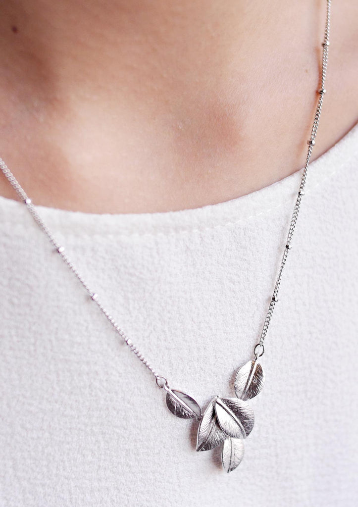 Silver Leaves Necklace Accessories Kollidea