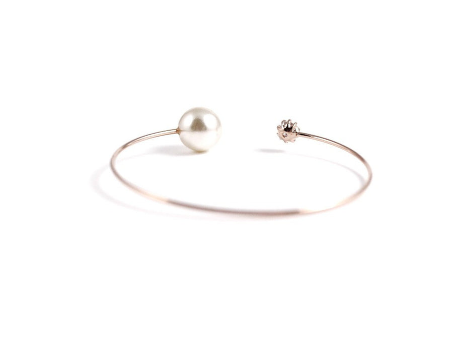 Tara Pearl and Cubic Bangle - Rose Gold