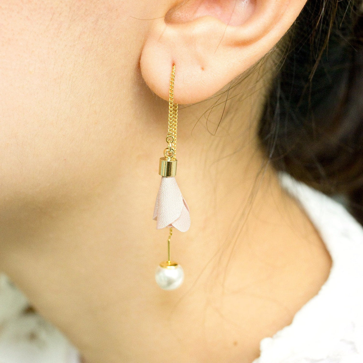Fabric Flower Pearl Earring Pink