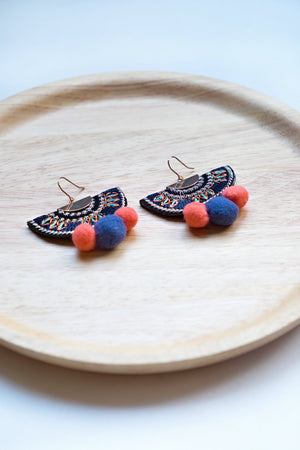 Happy Pom Pom Earring - Navy & Orange
