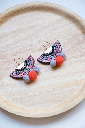 Happy Pom Pom Earring - Pale Purple & Orange