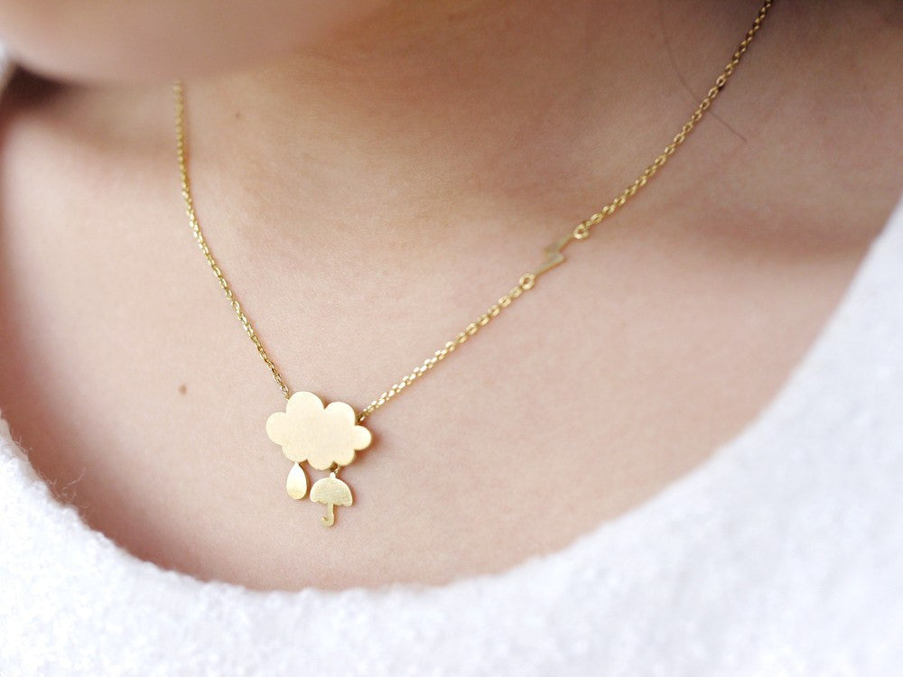 Rain Cloud Necklace - Gold