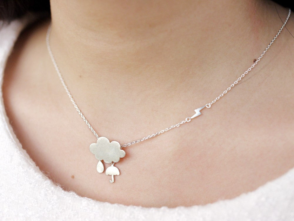 Rain Cloud Necklace - Silver