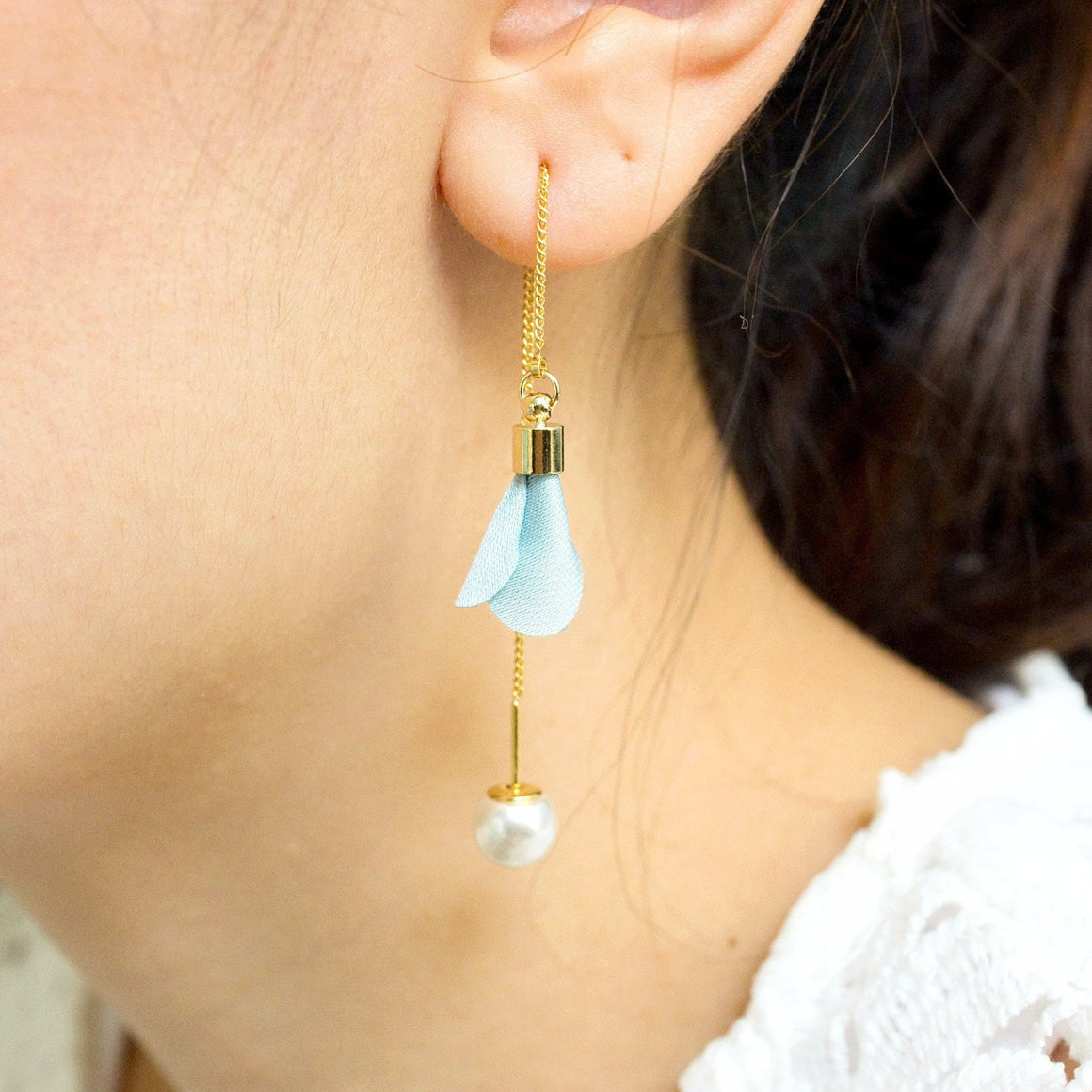 Fabric Flower Pearl Earring Turquoise