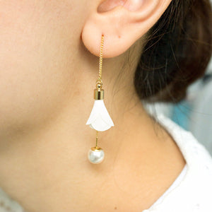 Fabric Flower Pearl Earring White