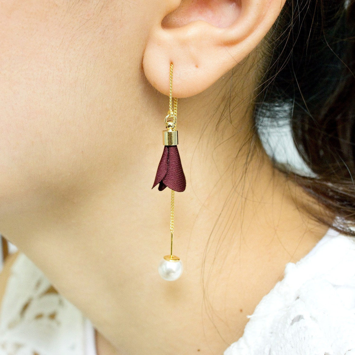 Fabric Flower Pearl Earring Wine