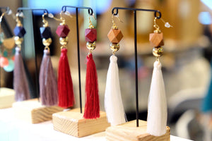 Long Tassel with Angular Wood and Ball Earring