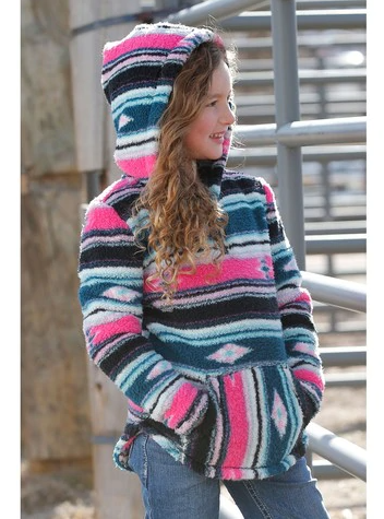 Girls Pink/Blue Aztec Fleece Hoodie