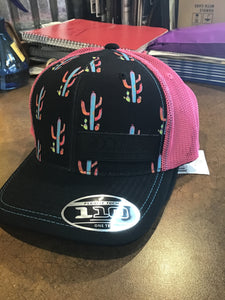 Rock and Roll Cowgirl BLACK/PINK CACTUS FLEXFIT TECH