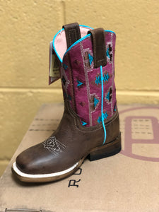 Aztec Embroidery/Pink Roper Boot