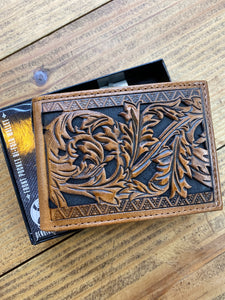 Hooey Floral Tooled BiFold Wallet