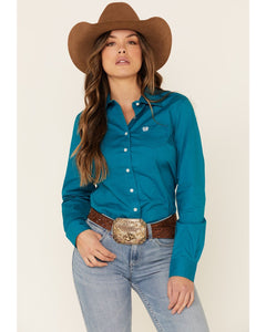Cinch Teal Solid Long Sleeved Button Up