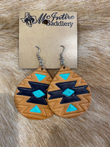 Turquoise/Black Aztec Bell Earrings