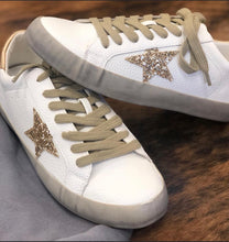 Load image into Gallery viewer, White/gold Star Sneaker