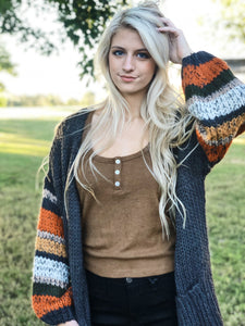 Striped Sleeve Cardigan