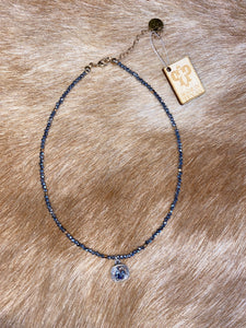 Silver Diamond Beaded Choker