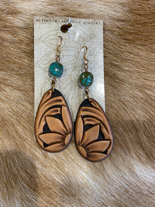 Leather Sunflower Earring with Turquoise Stone