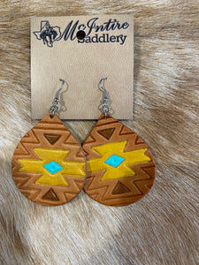 Mustard Aztec Bell Earrings
