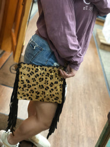 Acid Washed Leopard Crossbody With Fringe
