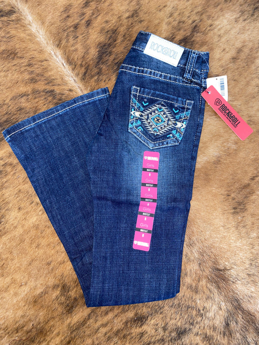 Girl's Aztec Pocket Bootcut Jean