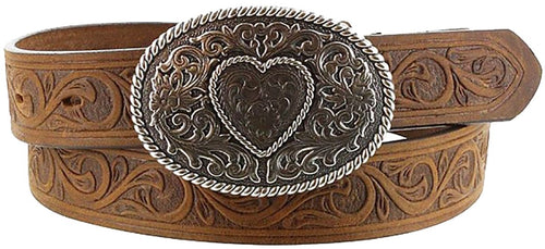 Justin Heart Tooled Belt