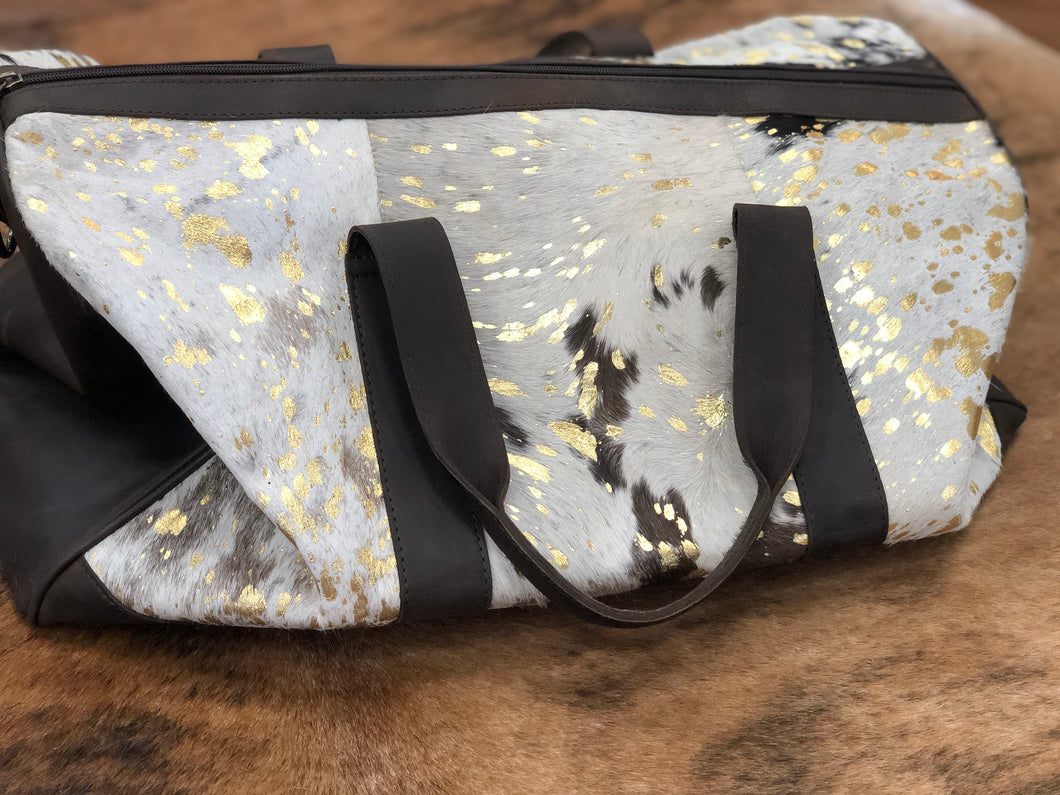 Acid Wash Cowhide Over Night Bag