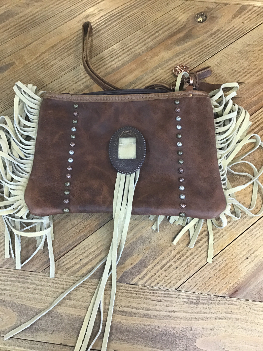 Double Saddlery Fringe Crossbody
