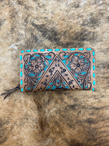 Leather Tooled Clutch w/ Turq. Detail