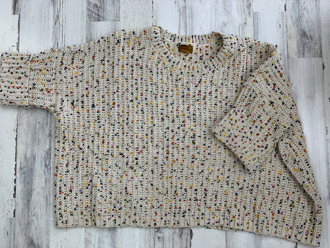 POL CONFETTI SHORT SLEEVE SWEATER