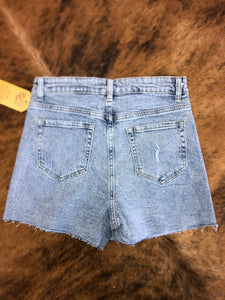 overlap denim skort