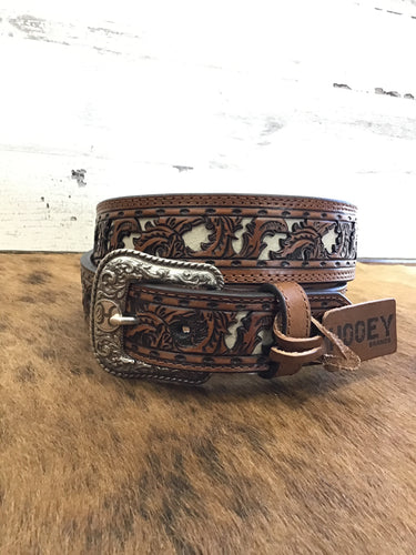 Hooey Floral Belt W/ Ivory Inlay