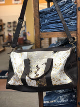 Load image into Gallery viewer, Acid Wash Cowhide Over Night Bag