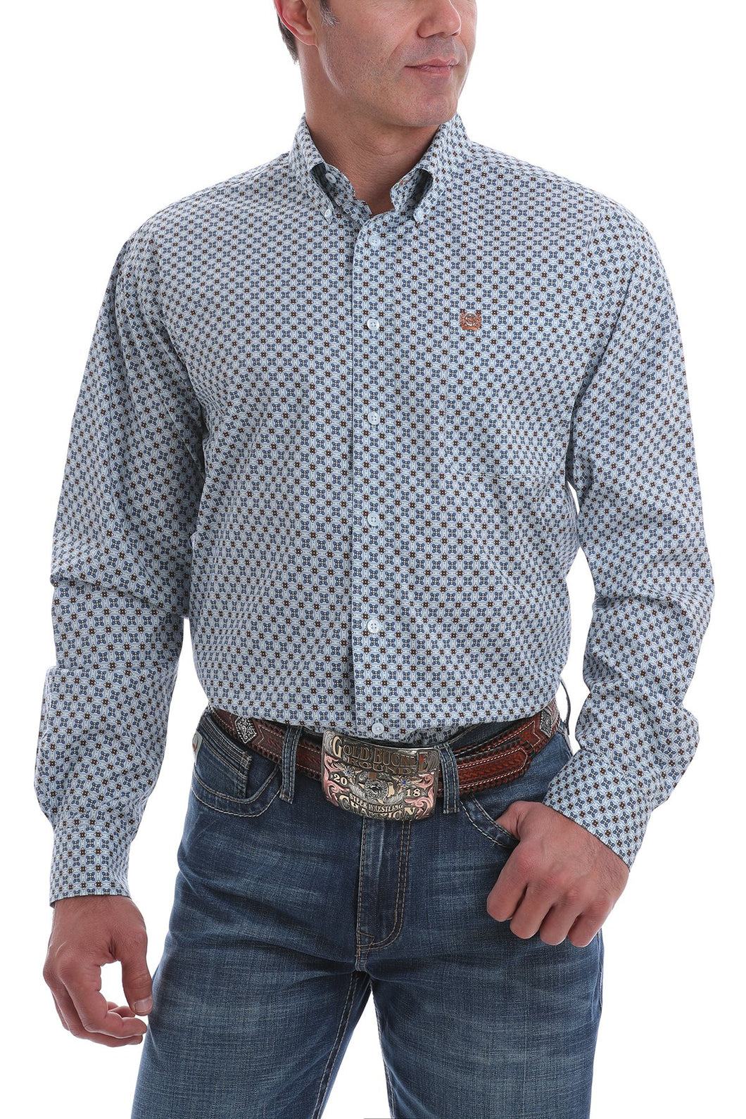 Cinch Light Blue Print Button Up