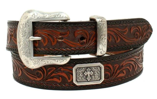 Nocona Men's Prescott Floral Embossed Cross Concho Leather Belt