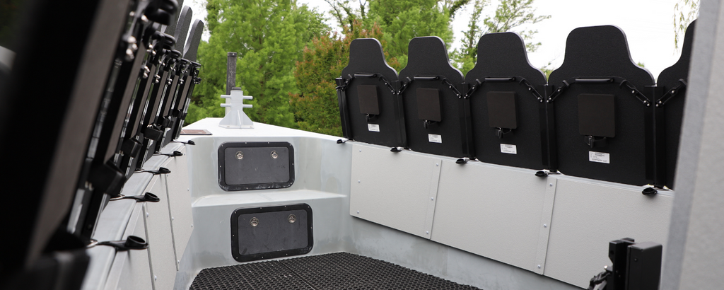 angled tactical gunner panels photo of Hardwire LLC's ballistic armor on Maryland's Department of Natural Resources boat